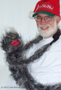 Photo of Bill with furry critter puppet