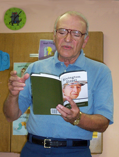 Photo of Frank Di Giovanni, author of RIVINGTON STREET, reading from his play