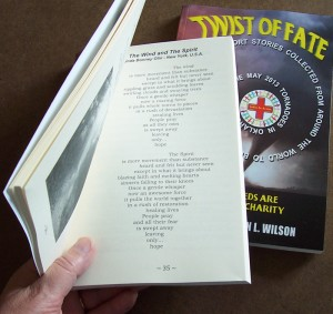 Photo of Twist of Fate book featuring poem The Wind and The Spirit by Linda Bonney Olin