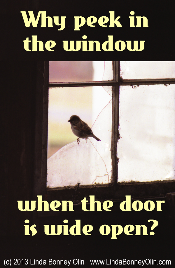 Poster of a Sparrow Perched on a Window , asking Why peek in the window when the door is wide open?