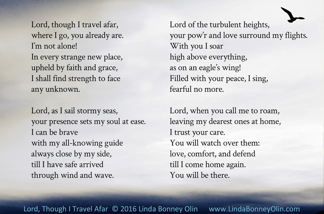 Lord, Though I Travel Afar, prayer hymn by Linda Bonney Olin