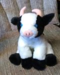 Stuffed cow with blue eyes